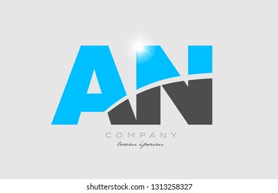 combination letter an a n in grey blue color alphabet logo icon design suitable for a company or business