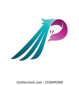 Combination letter P + dove bird logo, initial letter logo ready for use