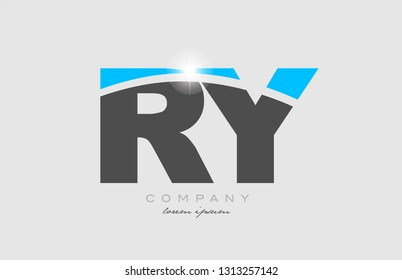 combination letter ry r y in grey blue color alphabet logo icon design suitable for a company or business