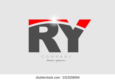 combination letter ry r y in grey red color alphabet logo icon design suitable for a company or business