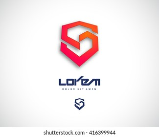 Combination of Letter S. Abstract Vector Logo Design Template. Creative Red Geometric Concept Icon