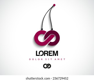 Combination of Letters C and O. Abstract Vector Cherry Logo Design Template. Creative Concept Icon