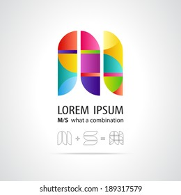 Combination of Letters M and S. Abstract Vector Design Template. Creative Concept Icon