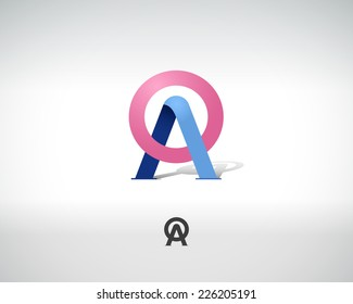 Combination of Letters A and O. Abstract Vector Logo Design Template. Creative Concept Icon