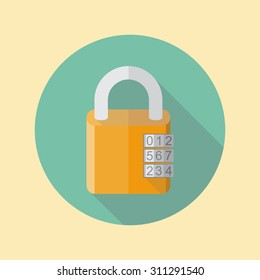 Combination lock, flat style. lock icon, isolated, with long shadow.  Padlock.  Vector  illustration.
