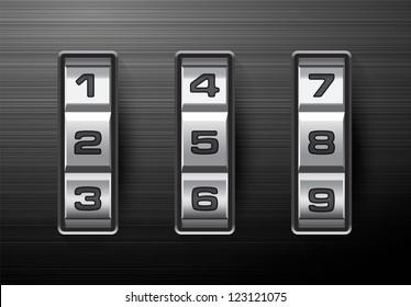 Combination lock - number code. EPS-10