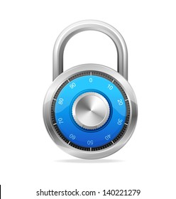 Combination Lock, Security Concept. Vector padlock