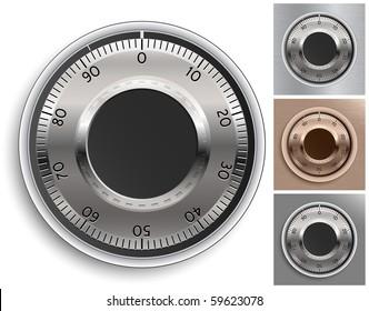 Combination Lock Set.Combination Safe Lock Set. Vector Illustration.
