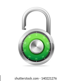 Combination Opened Lock, Security Concept. Vector padlock