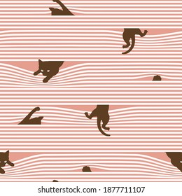 Combination pattern of cat and horizontal stripes,