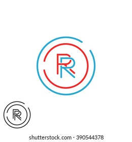 Combination RR logo hipster monogram letter R group, overlapping thin line circle fame business card emblem