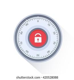 Combination Safe Lock.Combination Lock. Flat Vector Illustration.