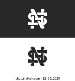 Combination SN or NS logo letters hipster monogram, overlapping weaving symbols S, N and H initials together, creative idea wedding emblem mockup
