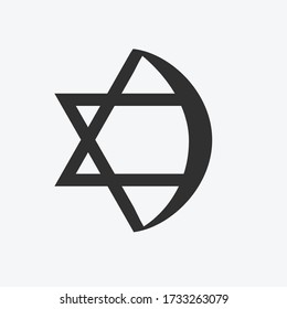 Combination of Star of David with Crescent religious symbols. Harmony of two monotheistic religions concept symbolizes equality, hope, religious freedom and acceptance of the other. Flat design icon.