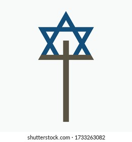 Combination of Star of David with Cross religious symbols. Harmony of two monotheistic religions concept symbolizes equality, hope, religious freedom and acceptance of the other. Flat design icon.