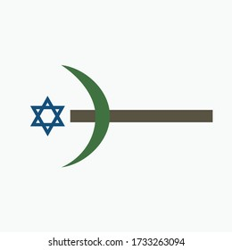 Combination of the three monotheistic religions symbols. Harmony of religions concept symbolizes equality, hope, religious freedom and acceptance of the other. Star of David with a crescent on a cross