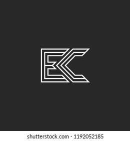 Combination two letters logo E and C, monogram initials EC or CE mark, simple style lines shape hipster emblem