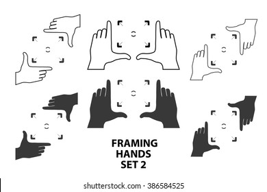 Combinations of hands making frame with fingers. Framing hands as a template for design set2. Vector illustrations of perspective view.