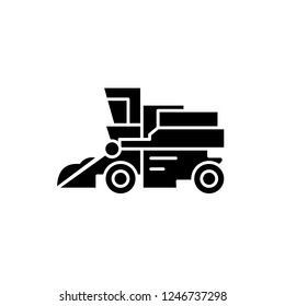 Combine harvester black icon, vector sign on isolated background. Combine harvester concept symbol, illustration