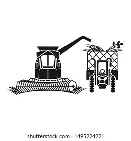 Combine harvester fill tractor icon. Simple illustration of combine harvester fill tractor vector icon for web design isolated on white background