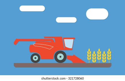 Combine harvester icon in the field of wheat ears. Flat vector illustration. Agriculture concept.