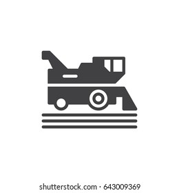 Combine harvester icon vector, filled flat sign, solid pictogram isolated on white. Symbol, logo illustration. Pixel perfect