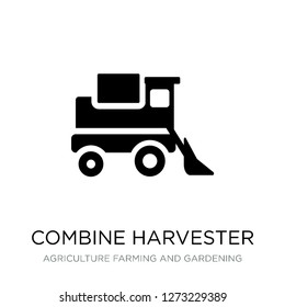 combine harvester icon vector on white background, combine harvester trendy filled icons from Agriculture farming and gardening collection, combine harvester simple element illustration