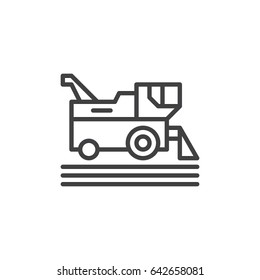 Combine harvester line icon, outline vector sign, linear style pictogram isolated on white. Symbol, logo illustration. Editable stroke. Pixel perfect