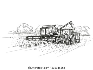 Combine Harvester and tractor at work. Vector.