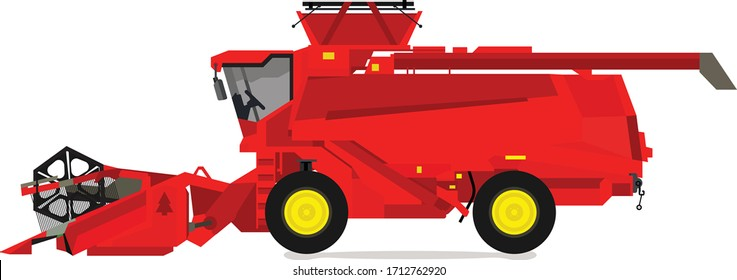 Combine harvester vector design isolated Agricultural machine vector design isolated