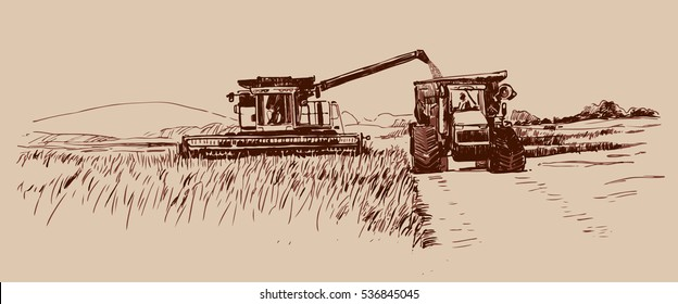 Combine harvester working with a Tractor on a wheat field. Hand drawn sketch