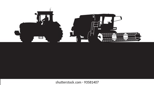 combine and a tractor silhouette
