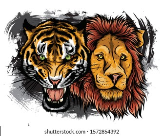 Combined faces of lion and tiger. vector illustration