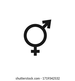 Combined male and female symbol. Used to refer to intersexuality and androgyny. Vector stock black icon isolated on a white background.