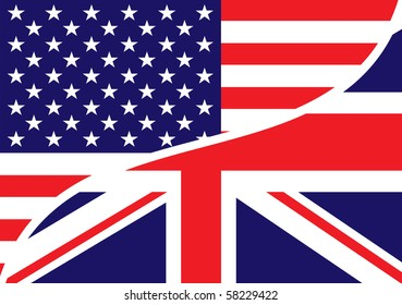 combined USA and British flags with stars and stripes
