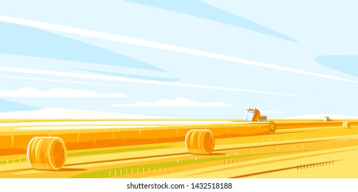 Combines harvesting wheat fields, autumn rural landscape with harvesting machines and haystacks, dried haystack to the horizon in simple colors and lines, farming life concept illustration
