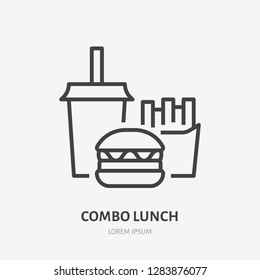 Combo lunch flat line icon. Vector thin sign of fast food, cafe logo. Burger, soda and french fries illustration for restaurant menu.