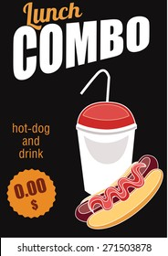 Combo meal. Menu bistro. Vector illustration Combo meal. Drink in a glass and hot dogs for special price. Discounts on combo lunch
