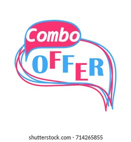 Combo offer banner template isolated on white background. EPS10 vector illustration for store, online shop, web, app. Blue and pink text with speech bubble in pop art style.