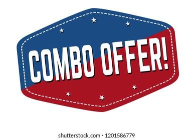 Combo offer label or sticker on white background, vector illustration