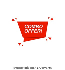 Combo offer sign. Combo offer paper origami speech bubble. Stock vector