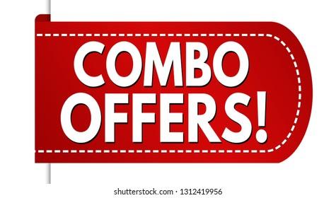 Combo offers banner design on white background, vector illustration