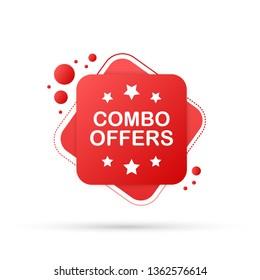 Combo offers banner design on white background. Vector stock illustration.