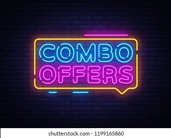 Combo Offers neon text vector design template. Big discount light banner design element colorful modern design trend, night bright advertising, bright sign. Vector illustration