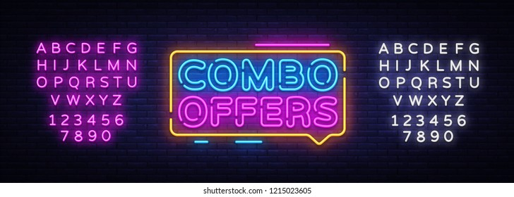 Combo Offers neon text vector design template. Big discount light banner design element colorful modern design trend, night bright advertising, bright sign. Vector. Editing text neon sign