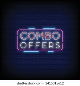 Combo Offers neon text vector with a Brick Wall Background design template. light banner design element colorful modern design trend  night bright advertising  bright sign. Vector illustration