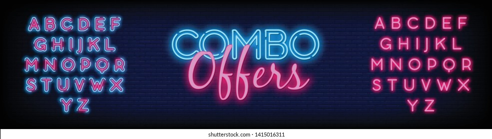 Combo Offers neon text vector with a Brick Wall Background design template. light banner design element colorful modern design trend  night bright advertising  bright sign. Vector. Editining Text Neon