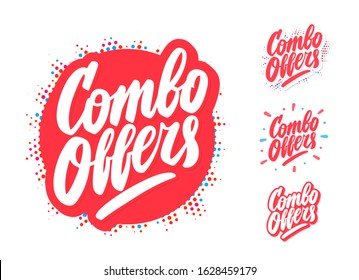 Combo offers. Vector lettering icons set.