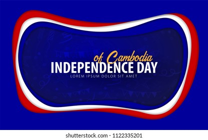 Combodia. Independence day greeting card. Paper cut style