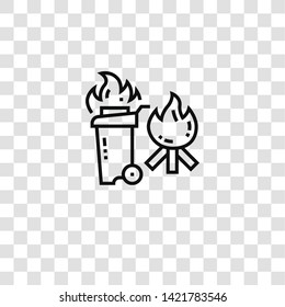 combustible icon from emergency collection for mobile concept and web apps icon. Transparent outline, thin line combustible icon for website design and mobile, app development